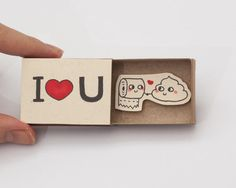 "Funny Anniversary Love Card ""I love you"" Matchbox Gift box / Message box"