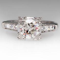 1 Carat Old Euro Diamond 1930's Antique Ring in Platinum