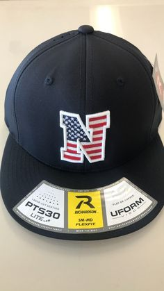 a8f56c045e4e87 Liberty North Eagles Navy American Flag Flexfit PTS30 Mesh Hat by Richardson