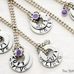 Tutorial for stamped washer necklaces  I had this pinned and then deleted it because you need a special tool.  However, I just won a kit to stamp so I added this back.  GHee.....