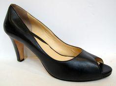 Cole Haan 'Carma OT Air' Black Leather Open Toe Pump Size 9.5B #ColeHaan #OpenToe