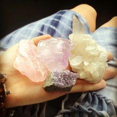 rose quartz, clear quartz, and amethyst