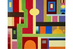 JOOST DE JONGE - THE DREAM OF REASON - ACRYLIC AND OIL ON CANVAS - 67 X 79 INCHES | Bill Lowe Gallery Lowes, Oil On Canvas, Kids Rugs, Symbols, Letters, Colours, Arts, Gallery, Design
