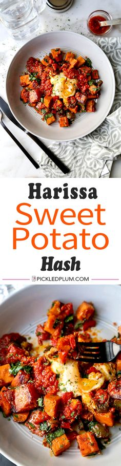 Harissa Sweet Potato Hash - Turn brunch into a healthy and spicy affair with this delicious Harissa Sweet Potato Hash Recipe. Sweet potatoes recipe healthy, healthy breakfast ideas, easy brunch recipes | pickledplum.com