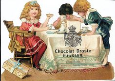 cacao droste - at a table drinking cocoa Angels In Heaven, Victorian Christmas, Old Postcards, Vintage Ephemera, Victorian Era, Vintage Advertisements, Old World, A Table, Vintage Antiques