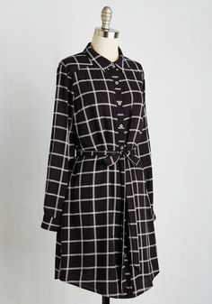 It Was All a Dream Job Shirt Dress. Clad in the plaid charms of this black and white shirt dress, you confidently dive in to the first day of your brand new career! #black #modcloth