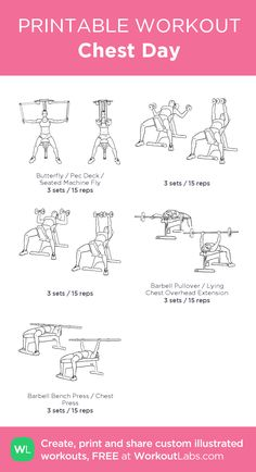 Chest Day:my visual workout created at WorkoutLabs.com • Click through to customize and download as a FREE PDF! #customworkout