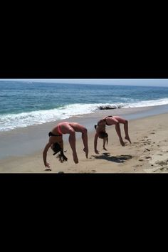 Beach gymnastics me and my friend having fun in the summer before school! i miss you!!