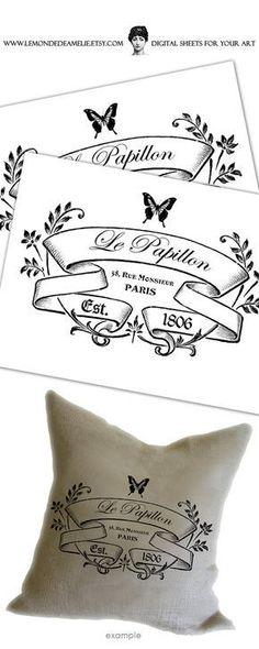 Le Papillon vintage romantic large image paris france graphic art print on fabric gift tag burlap label napkins burlap pillow Sheet n.170