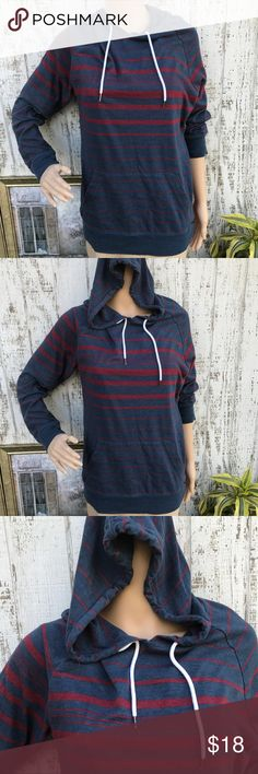On The Bias Pull Over Hoodie On The Bias Pull Over Hoodie. Like New. Size Medium. Grey blue with Wine color stripes and white lacing at the hood. Super Cute and Sporty❤️ on the byas Tops Sweatshirts & Hoodies