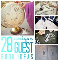 Unique Guest Book Ideas {sign in book}. Annie, u should really go through these. I think the log, stone, jenga, or the guitar is the best.