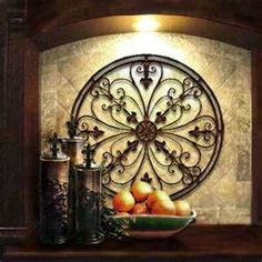 Tuscan Kitchen Decorating: love the iron wall decoration Kitchen Decorating, Kitchen Decor Themes, Tuscan Decorating, Kitchen Ideas, Kitchen Planning, Interior Decorating, Decorating Ideas, Nice Kitchen, Smart Kitchen