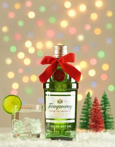 Who doesn't love Tanqueray Gin? I did this product shot with a Christmas holiday theme. #gin #holiday #christmas #booze