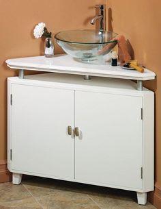 beyaz modern banyo kose lavabo dolabi