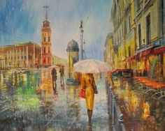 Художник Юмадилов Тимур Russian Fashion, Russian Style, Umbrella Art, Love Rain, Rainy Days, Gallery, Painting, Image, Mondays