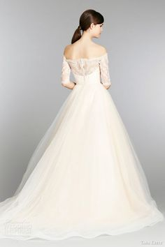 tara keely  fall 2013 sherbet wedding dress ball gown style 2358 sweetheart lace off shoulder three quarter sleeves back chapel train