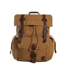 Wholesale High Quality Canvas Backpack, Shoulder Backpack, Canvas Leather Backpack 2150