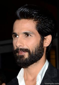 Shahid Kapoor looks handsome in a heavy beard and a sleek hairstyle. via Voompla.com