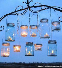 hanging mason jars.