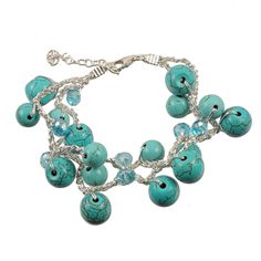 Turquoise Cluster Crystal Bracelet from HandPicked