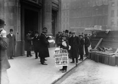News of the Titanic disaster spreads in London on the day the ship went down, April 15, 1912.
