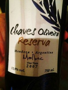 Chaves Oliveira Reserva Malbec 2007 www.chavesoliveira.com.br / ( 11 ) 2155 0871 — sgrael@chavesoliveira.com.br