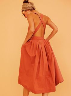 Orange Sleeveless Backless Dress