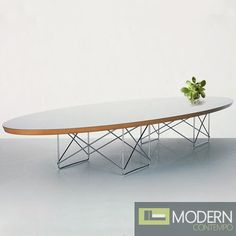 The Eames elliptical coffee table with wire frame. $399 #midcentury #danish #eames #hermanmiller