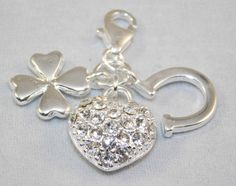 Charm - Sterling Silver 18k white gold plated - 4-leaf clover, crystal heart and horseshoe