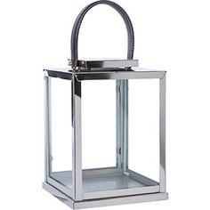 26cm Silver Cube Candle Lantern