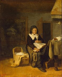 Old Woman Reading a Book - Pieter van den Bos - Drawings, Prints and Painting from Hermitage Museum