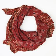 Anchal's one-of-a-kind square scarf is handcrafted from two layers of vintage cotton sari. Each piece is held together by a traditional Indian kantha stitch and features the hand-stitched name of each artisan.  PRODUCT DETAILS - Made by an Artisan in A