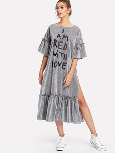 To find out about the Slit Ruffle Hem Glitter Dress at SHEIN, part of our latest Dresses ready to shop online today! Glitter Fashion, Grey Fashion, Womens Fashion, Ladies Fashion, Women's Fashion Dresses, Casual Dresses, Fashion Clothes, Day Date Outfits, Glitter Dress