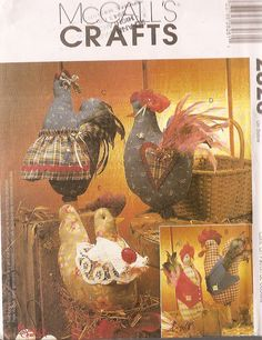 looking for a pattern for a chicken on nest my Grandma used to make in fabric and crochet - I'm starting to think she must have made it up as she went ... I may have to do the same. Here are some cute chickens though ...  (pattern for sale on Etsy) #Hen #Sewing #Crafts pb†å