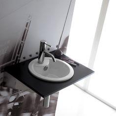 Lavabo mini Dublín, de porcelana y encastre, con rebosadero y sin opción de ir en pared.  Referencia: 0067 Medidas: 330x150 mm