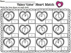"Students will love to practice telling time to the hour and half hour with the Valen""time"" Heart Match activity/center! In this Valentine themed activity/center, students match the time shown on the analog clocks to the time on the digital clocks to ""mend"" the broken hearts. Also included are 8 ready to use practice printables with answer keys. This activity is aligned to first grade Common Core Standards. $"