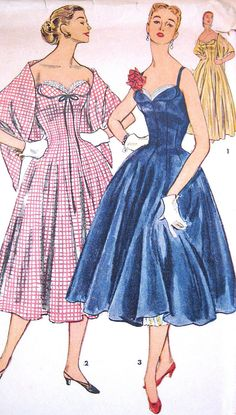 Vintage1950s Dress or Evening Gown Pattern Strapless by PatternGal