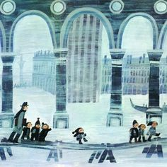 """Štěpán Zavřel illustration for """"Un sogno a Venezia""""."""