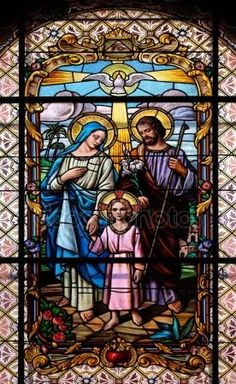 Holy Family, stained glass window