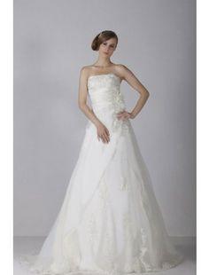 Gorgeous Empire Strapless Lace Sweep Train Beach Wedding Dress