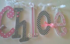Baby Girl Wooden Letters for Nursery- PINK and GRAY-avail in any size or font in this shop. $11.00, via Etsy.