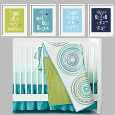 You Are My Sunshine Prints in lime green, turquoise, sky blue and navy with birds 4 pc 11x14  for Land of Nod Full Circle Beding. $88.95, via Etsy.
