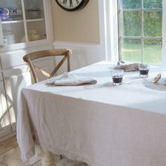 Huddleson Linens - Natural Undyed Italian Linen Tablecloth - Understated Luxury - Modern Farmhouse Tablescape