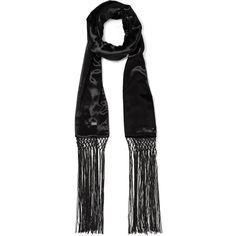 Saint Laurent Fringed velvet scarf ($805) ❤ liked on Polyvore featuring accessories, scarves, velvet shawl, fringe shawl, fringe scarves, long scarves and oblong scarves
