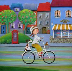"Saatchi Art Artist Iwona Lifsches; Painting, ""Ulla and Her New Easter Bonnet, SOLD"" #art"