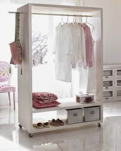 Good news for home decor enthusiast.If you are looking for open closet ideas you've come to the right place. We have 18 images about open closet ideas Small Closet Space, Small Spaces, Portable Closet, Diy Casa, Rack Design, Closet Bedroom, Bedroom Storage, Loft Closet, Entryway Closet
