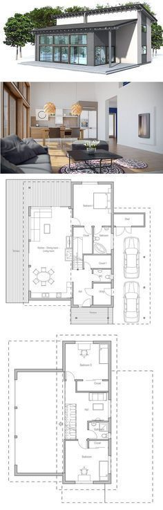 Very popular small house plan. Suits well to small lot. Nice open areas. Two living areas and three bedrooms. Floor Plan from ConceptHome.com