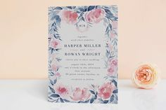 """""""Monogrammed watercolor floral"""" - Traditional, Floral & Botanical Foil-pressed Wedding Invitations in Blush by Qing Ji."""