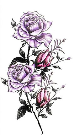 Beautiful Purple Watercolor Flower Tattoo Ideas for Women - Floral Colorful Tat - www.MyBodiArt.com #tattoos