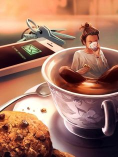 ᐅ Die 99 Besten Bilder von Illustration in 2019 Cyril Rolando Cyril Rolando, Art Anime, Coffee Art, Drawing Coffee, Cute Drawings, Cute Wallpapers, Cute Art, Art Girl, Art Sketches